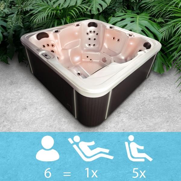 """Whirlpool """"Florida"""" - Für 6 Personen mit LED Innen- und Außenbeleuchtung"""